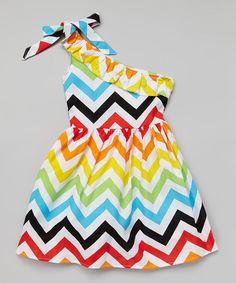 Rainbow Zigzag One-Shoulder Dress - Girls