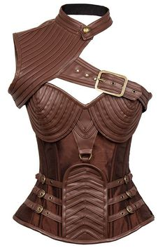 The Atomic Brown Faux Leather Steel Boned Steam One Shoulder Corset features a sexy one shoulder design, brown faux leather with a brown satin bodice, removable high neck shrug with a button and adjustable buckle trim, heavy duty, spiral steel bones, a surprising and stunning spiral pattern, and accent buckle straps on each side.