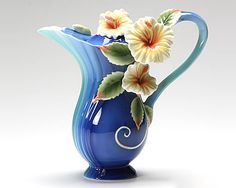 Franz Collection Island Hibiscus Blue Teapot