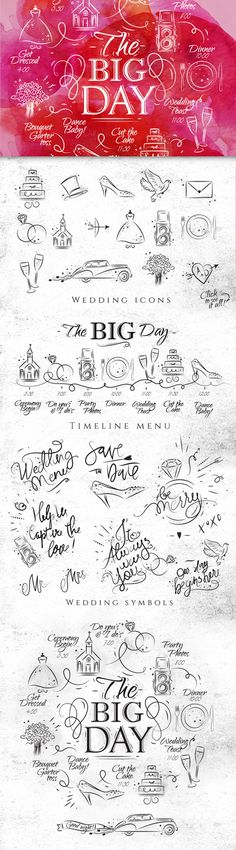 Wedding set icons: Set wedding elements (timeline menu and icons). Illustrations drawing in modern vivid style on the wedding theme. Easily to create wedding invitation or wedding decorative posters or elements. All files are well organised. Text you can easy to edit (exept wedding symbols).