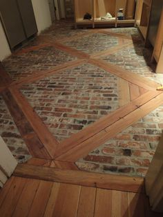 DIY:  How to Install this Brick Floor -using 2 x 4's and brick veneers. This is such a great look! - via 1900 Farmhouse: Kitchen Floor Modern Flooring, Brick Flooring, Flooring Ideas, Entryway Flooring, Kitchen Flooring, Floor Patterns, Mudroom, Kitchens, House Ideas