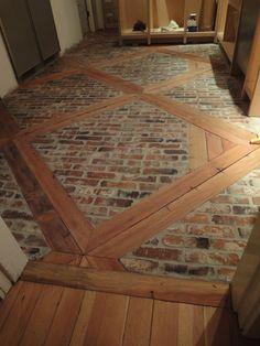 brick flooring DIY: How to Install this Brick Floor -using 2 x and brick veneers. - via 1900 Farmhouse: Kitchen Floor Brick Flooring, Kitchen Flooring, Brick Floor Kitchen, Diy Flooring, White Flooring, Garage Flooring, Farmhouse Flooring, Rubber Flooring, Bathroom Flooring