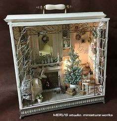 pretty christmas shadow box made from an old dresser drawer Christmas Projects, Holiday Crafts, Christmas Crafts, Christmas Decorations, Christmas Ornaments, Christmas Room, Christmas Houses, Christmas Fireplace, Christmas Minis