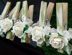 French Shabby Chic Cottage decorated Clothes Pins Decorated Clothes Pegs Set of 7 pins with handmade flowers paper flower by rae