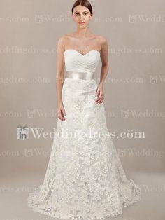 Strapless Sweetheart Lace Wedding Dress $289   InWeddingDress