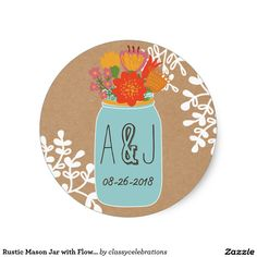 Rustic Mason Jar with Flowers Craft Paper Monogram Classic Round Sticker