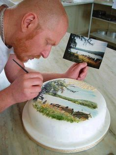 Amazing cake art by David Maccarfrae. Cake Art by David Maccarfrae. From A Different Type of Stealing Cake Art by David Maccarfae.I want him to design my cake! cake art _ so much talent Picture Painted on Cake Cupcakes, Cake Cookies, Cupcake Cakes, Crazy Cakes, Fancy Cakes, Gorgeous Cakes, Amazing Cakes, Amazing Art, Awesome