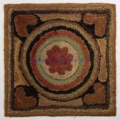 AMERICAN FOLK ART HOOKED MAT, wool and cotton on