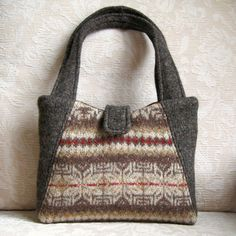 Chocolate Brown and Caramel Eco Friendly Willow Handbag, Upcycled Felted Wool Sweater Purse