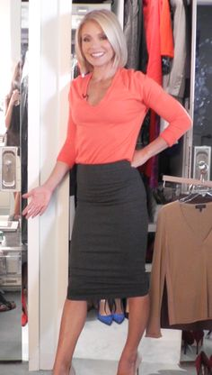 Kelly Ripa in a J. Crew cashmere bright orange top and Nadia Tarr skirt. LIVE with Kelly and Michael Fashion Finder.