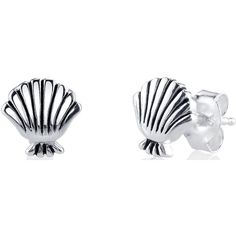 Disney Sterling Silver Little Mermaid Sea Shell Earrings ($17) ❤ liked on Polyvore featuring jewelry, earrings, shell earrings, seashell earrings, disney, seashell jewelry and sterling silver jewellery