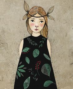 Can't decide if she's spring or autumn ☺    #illustration_now #illustration #drawing #mixedmedia #print #artsy #whimsical #artsy #girlportrait #instaart #inkefy #insta_artgallery #artoftheday #instaartist #photooftheday #artgallery #artist_features #etsyartist #leaves #femaleartist #childrensillustration #artwork #floral #floralpattern #art #instagood #artstagram #plumaateam