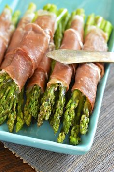 Prosciutto Wrapped Asparagus with Goat Cheese is an Amazing Side Dish for Your Thanksgiving Dinner and Only Takes Minutes to Make with Four Ingredients #fallfest #thanksgiving