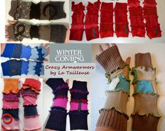 Katwise style fully lined Crazy Armwarmers made to door LaTailleuse