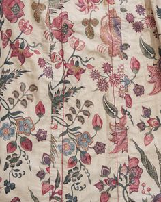 Detail of a women's overcoat from Hindeloopen, named 'wentke.'  Made of cotton chintz fabric from India, c. 1740.