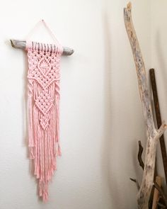 I've been revisiting the classics to prep for upcoming workshops. Come and learn to make an itty bitty pretty (seen here in @niromastudio's sweet pink). ❤️ #macrame #modern #niromastudio #driftwood #decor #design #nurserydecor #nursery #bohostyle #boho #bohemian #oakland #alameda #sf #ca #custom #babygirl #blush #rose #wallhanging #wallart #workshops