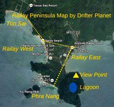 The map of Railay peninsula which depicts Railay East, Railay West, Phra Nang Cave Beach, Railay Viewpoint, Lagoon and Ton Sai. Ton Sai is the most fun part of the entire Railay Peninsula. http://drifterplanet.com/stunning-beauty-railay-ton-sai-phra-nang-krabi-province/
