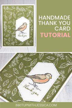 This easy bird thank you card was made with the Free as a Bird stamp set from Stampin' Up! Read on for tips on using the Stampin' Blends markers to color. Handmade Cards For Friends, Handmade Thank You Cards, Birthday Cards For Friends, Handmade Birthday Cards, Handmade Gifts, Card Making Ideas For Beginners, Card Making Tips, Card Making Tutorials, Card Making Techniques