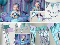 Under the Sea Mermaid Party Decorations Ombre Turquoise Purple Lavender Aqua Girls First Birthday by ProperPartyStudio, $1.00