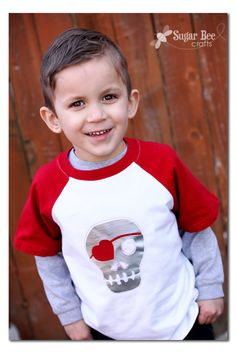 perfect shirt for a boy on Valentine's - and it's a DIY - - -Sugar Bee Crafts: Boy's Skull Heart Valentine Shirt