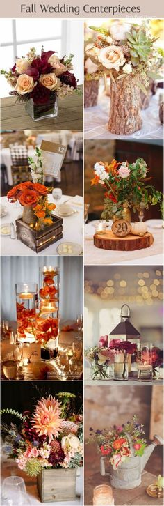 Rustic fall flower wedding centerpiece