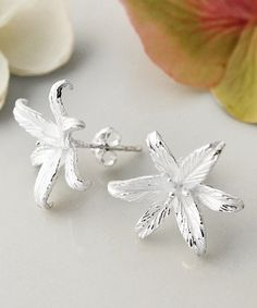 Look at this #zulilyfind! Sterling Silver Lily Flower Star Stud Earrings #zulilyfinds