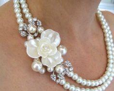 Boda collares perlas y cristal collar collar por IreneJewelry