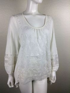 CUPIO ivory lace blouse tunic long sleeve large top #cupio #BLOUE
