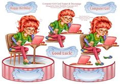 Computer Girl Shaped Card Topper with Decoupage on Craftsuprint - Add To Basket!