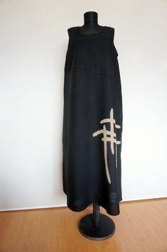 Lauren Vidal Maxi Boho Viscose/Linen Black Dress, Size: XL