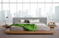 Opal Modern Low Profile Walnut and Grey Leatherette Platform #Bed - Free Shipping