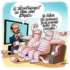 Chaunu (2020-04-03) France: Édouard Philippe,  dé-confinement ÷÷÷ Publié aujourd'hui dans @unionardennais #deconfinement #edouardphilippe #papiertoilette #actualités #dessindepresse