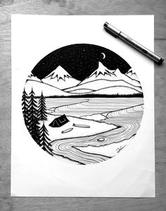 Home Is Where You Pitch It. Original signed ink illustration