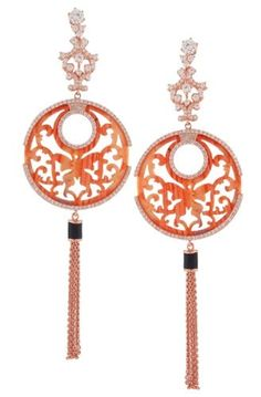 Angélique de Paris coral tassel butterfly earrings