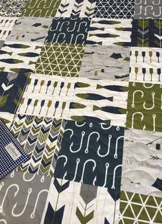 Nautical Baby Quilt, Fishing Quilt, Baby Bedding Nautical, Crib Bedding Boy, Crib Bedding Fish, Nautical Nursery Decor, Welcome to the Lake. This listing is for a baby quilt. It features 3 total layers and has light to medium weight. The middle layer consists of warm and natural 100% cotton