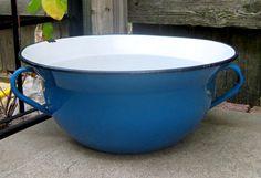 Beautiful Royal Blue Antique Large Enamel Ware by sixpencebluemoon, $77.00