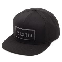 6ad2d7be45c Brixton Hats Rift Snapback Cap - Black with Grey Embroidery