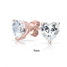 Rose gold heart earrings are beautiful for a bride