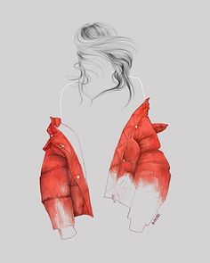 Have a good weekend! ♡ #fashionillustration #streetfashion #illustration #redcoat #woman #graphic
