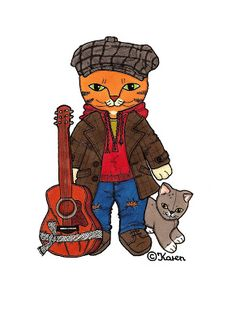 Karen`s Paper Dolls: Cat Brother 1-3 Paper Doll to Print in Colours. Kattebror…