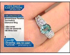 1.68 ct Mozambique Paraiba Tourmaline & 1.02 ctw Diamond 18K White Gold Ring, Size 6.5