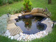 plants for outdoor pools Japanese Garden Backyard, Small Backyard Ponds, Indoor Water Garden, Ponds For Small Gardens, Fish Pond Gardens, Front House Landscaping, Pond Landscaping, Patio Garden Ideas On A Budget, Garden Pond Design