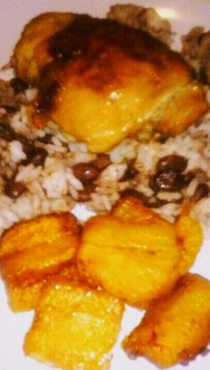 Shavaughn's Cuban Chicken with Sauteed Plantains, Black Beans and Rice.