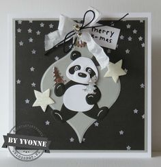 52 weeks to Christmas. Xmas Cards To Make, Die Cut Christmas Cards, Holiday Cards, Christmas Panda, Marianne Design Cards, Pop Up Cards, Creative Cards, Kids Cards, Handmade Christmas