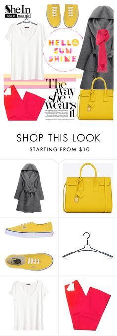 """Sheinside: Grey Hooded Tie-waist Coat"" by orietta-rose on Polyvore featuring WithChic, Yves Saint Laurent, Vans, Nomess, H&M, See by Chloé, Boutique Moschino and Sheinside"