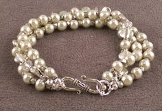 """3-Strand Cream Synthetic Pearl, Crystal and Silver Over Brass Bracelet, 7 1/4"""""""