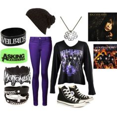 Black Veil Brides merch +asking Alexandria wristband +motionless in white wristband Band Outfits, Scene Outfits, Rock Outfits, Girl Outfits, Fashion Outfits, Casual Cosplay, Bvb Fan, Cute Emo Outfits, Cooler Look