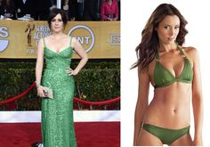 Actress Melanie Lynskey went bold in a green gown! You can go bold too (and go 1-2 cup sizes bigger with the built in push up!) in this Voda bikini. -Linda the Bra Lady