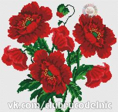 Cute Cross Stitch, Cross Stitch Flowers, Cross Stitch Charts, Cross Stitch Designs, Cross Stitch Patterns, Cross Stitching, Cross Stitch Embroidery, Hand Embroidery Flowers, Vintage Crochet Patterns