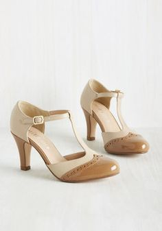Vivacious Vibes Heel in Tan. Combine your stylish know-how with the 40s-inspired panache of these two-toned heels by Chelsea Crew, and youre guaranteed an outstanding look! #tan #modcloth